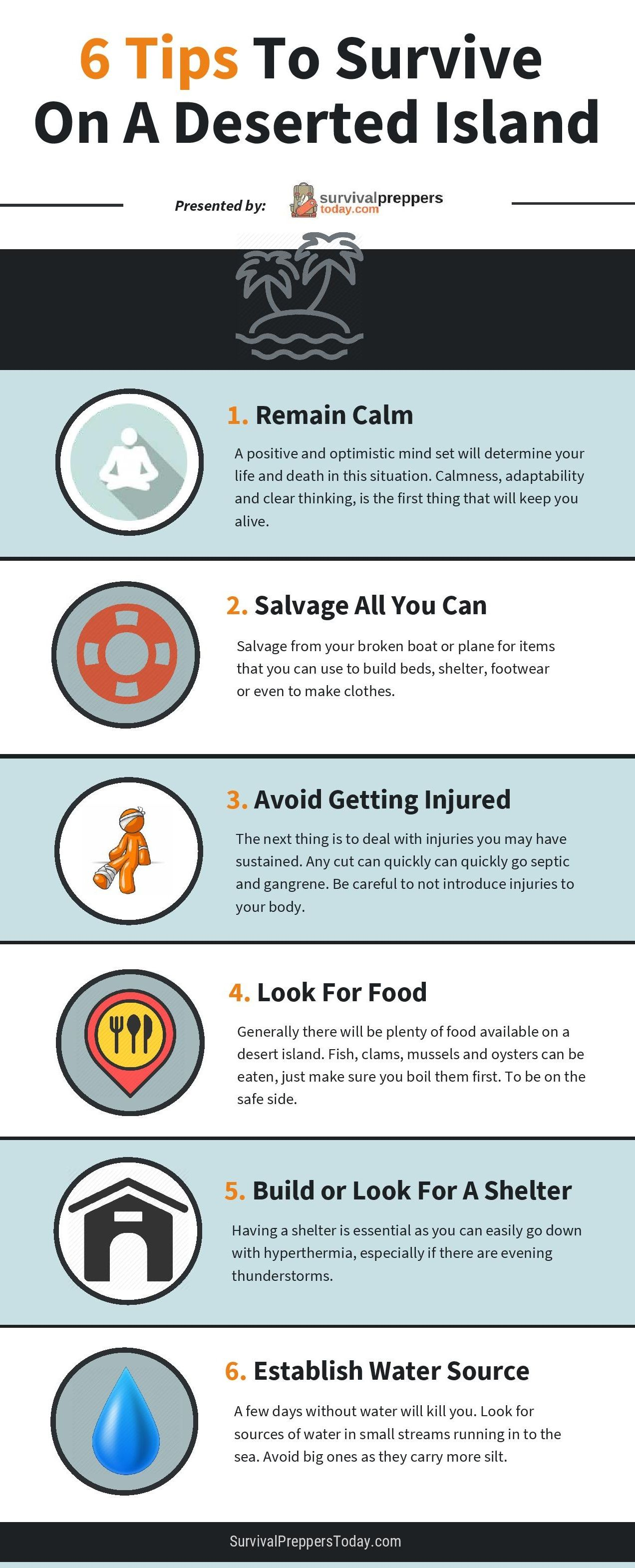 How To Survive On A Deserted Island - Infographic